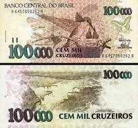 BRAZIL 100000 100,000 CRUZEIROS 1993 UNC P 235d SIGN 32