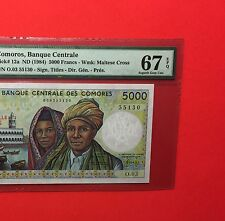 COMOROS -UNCIRCULATED 5000 FRANCS 1984 - SUPERB GEM ,PMG 67 EPQ .rare grading.