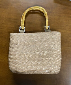Straw Satchel With Bamboo Style Handles. Lined. Small