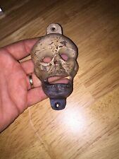 Cast Iron Skull Bottle Opener Solid Metal Patina Paint Finish F/g Beer Brewery