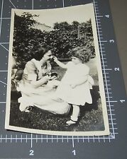 Young Girl Helps Maid w/ MAKEUP Powder Puff Vernacular Vintage Snapshot PHOTO