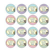 16x eat me Alice in wonderland Birthday Wafer Paper 4cm (uncut)