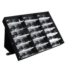 18 Grids Sunglasses Storage Glasses Retail Display Stand Box Case Tray Black HOT