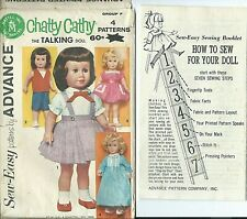 Adv 2897 sewing pattern GENUINE Chatty Cathy DOLL CLOTHES sew SKIRT BLOUSE DRESS