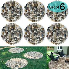 Sunface River Rock Stepping Stones Pavers Outdoor For Garden, Set Of 6 (Roundnes