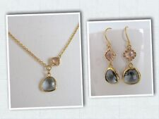 Gold Plated Dangle Earrings and Necklace Set- Charcoal Gray Champagne