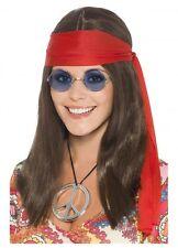 Hippie Hippy ladies budget costume set kit long wig glasses peace necklace 60's