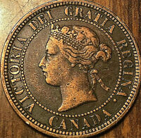 1882H CANADA LARGE CENT PENNY LARGE 1 CENT COIN - Obverse#1 variety