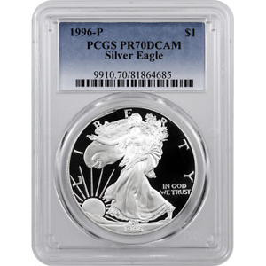 1996-P Proof American Silver Eagle One Dollar Coin PCGS PR70 DCAM