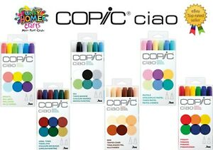 COPIC CIAO 6 Pack  Skin, Sea, Primary, Brights, Jewel, Pastels Tones Ink Markers