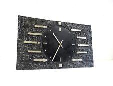 LARGE ORIGINAL BRUTALIST MID CENTURY VINTAGE METAL CAST WALL CLOCK 60S