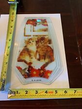 Touch Lamp Replacement Glass Panel Two Kittens And Flowers