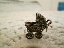 Vintage Baby Carriage Sterling Silver Charm Pendant Detailed Moveable!!