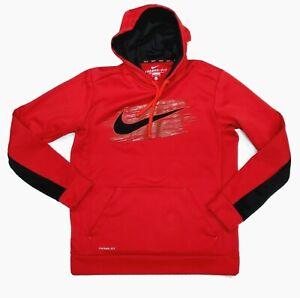 Nike Mens Hoodie Sweatshirt Swoosh Logo Dri-Fit Athletic Therma Fit Size M
