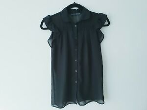 🔴ATMOSPHERE black gauzy sheer button up everyday smart blouse top size 6 1227