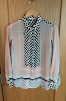 Next Poka Dot Sheer pink  Shirt Size 10