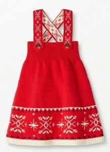 NEW Hanna Andersson 80 US 18-24 Dear Deer Red Holiday Sweater Dress