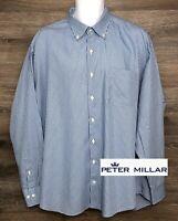 Peter Millar Men's Silk Cotton Blue Plaid Long Sleeve Button Down Shirt XXL 2XL