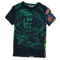 Desigual Womens Top Size S Small Black T-Shirt Short Sleeve Graphic Tee v-neck