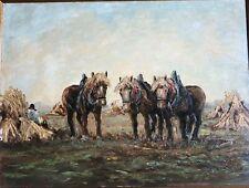 JEAN COUNE (1900-1963), Ölgemälde, Feldarbeit mit Pferden, signiert