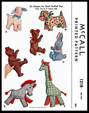LAMB ZEBRA GIRAFFE BUNNY 6 Toys Stuffed Animal Fabric Sew Pattern #1218 McCall