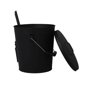 Traderight  Ash Bucket Shovel Lid Fireplace Tool Coal Wood Log  22L Capacity
