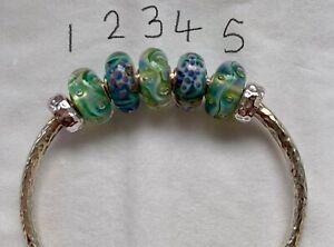 Trollbeads Lime Aurora & Starfish small and beautiful glass beads
