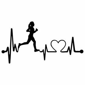 """8"""" HEARTBEAT RUNNER Vinyl Decal Sticker Car Window Laptop Run Running Race Heart"""
