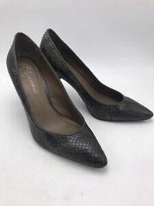 B MAKOWSKY Snake Skin HEELS Pumps Python Leather Womens Shoes Sz 9.5 Olive Green