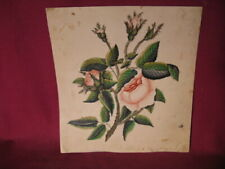 1840-50's Watercolor & Gouache Painting Of Pink Rose w Presentation Inscription