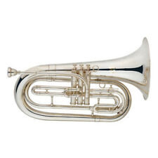 Marching Baritone Horn B Flat Nickel Plated Brass Instrument With Case