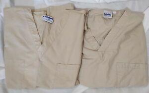Landau Scrubs Beige XL Tops Inside/Outside Pockets Lot Of 2