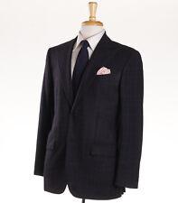 NWT $7495 KITON Peak Lapel Dark Gray Check Flannel Wool Suit Slim 40 R (Eu 50)