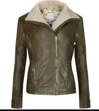 Ted Baker London Green Ciel Genuine Shearling Collar Leather Jacket 1 (US4) $725