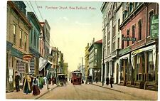 New Bedford MA - TROLLEY ON PURCHASE STREET - Postcard