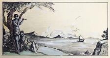 Beau Dessin Ancien Encre Gouache M. OLLIER Paysage Marine Musicien Flutiste 1925