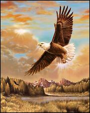 Majestic Eagle Flying Panel By Penny Rose Fabrics-Approx. 1 Yard Panel-
