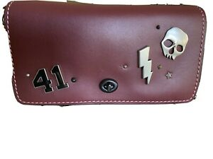 COACH DINKY Customized BURGUNDY Red  Glove tanned Clutch Hand Bag