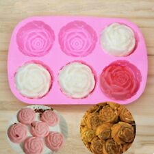 Pink Rose Shaped Silicone Chocolate Ice Cake DIY Jelly Pudding Mould 6 Holes