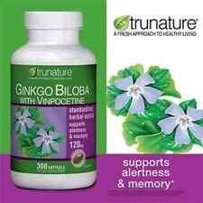 TruNature Ginkgo Biloba w/ Vinpocetine120mg 300 Softgels, Brain Memory Support