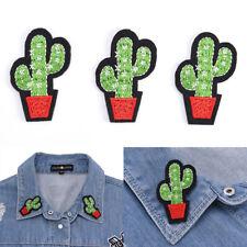 3x Cactus ricami Tessuto di Applique Ferro / cuce sulle zone per`l'abbigliamento