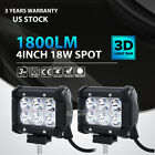 """2pc 4""""inch 18W LED Work Light Bar 4WD Offroad SPOT Pods Fog ATV SUV Driving Lamp"""