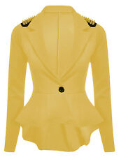 Neue Womens Plus Größe Gold Nieten Schößchen Jacke Blazer Damen Stachel 8-24