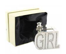 NEW SILVER PLATED DIAMANTE MONEY BOX - GIRL