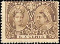 Mint H Canada 6c 1897 F Scott #55 Diamond Jubilee Issue Stamp