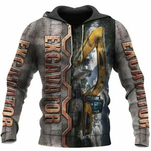 Excavator Heavy Equipment 3D ALL OVER PRINTED HOODIE S-3XL