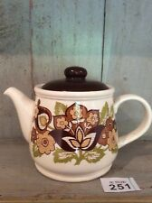 Sadler England large 1970s retro teapot vgc Browns And Greens