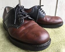 MENS TOMMY HILFIGER  CLASSIC SADDLE SHOES LEATHER OXFORD TWO TONE BROWN SZ 9 M