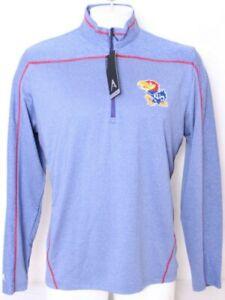 NEW Kansas KU Jayhawks Antigua Pullover Blue 1/4 Zip shirt Jacket Men's L
