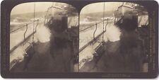 Orage sur un bateau Storm at sea Stéréo Antique Stereoview Vintage argentique